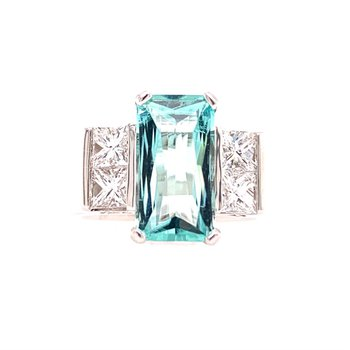3.0 Carat Blue Tourmaline and Diamond Ring in White Gold