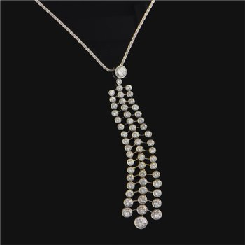 Diamond Tassel Necklace in White GOld