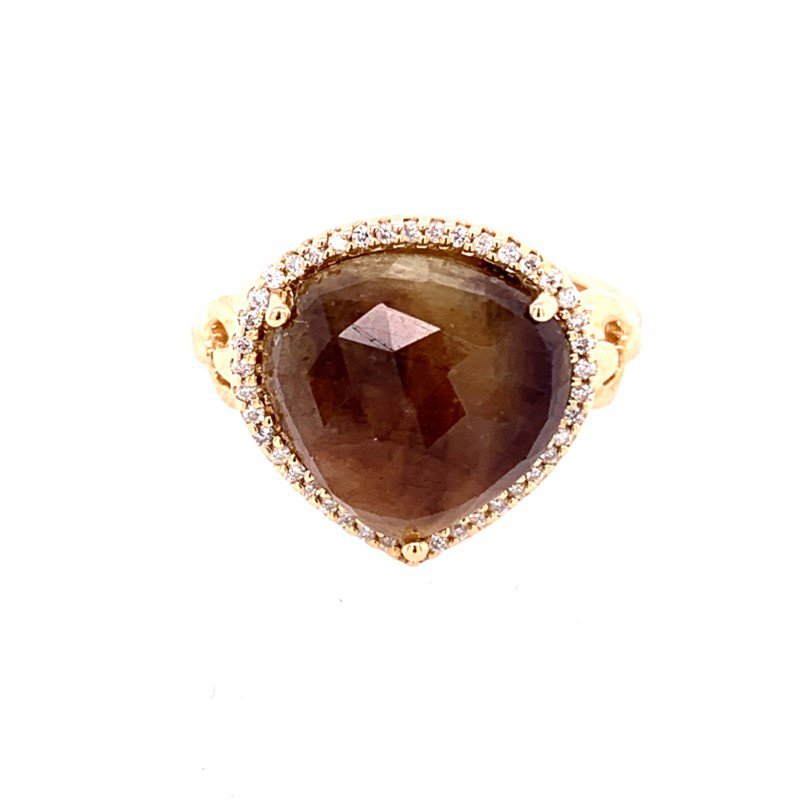 Ryan Gems Brown Sapphire and Diamond Ring in Yellow Gold