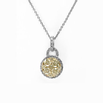 Circular Yellow and White Diamond Pendant