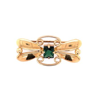 Vintage 1930s-40s Tiffany & Co. Green Tourmaline Butterfly Pin