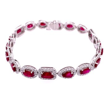 Ruby and Diamond Necklace in 18k White Gold