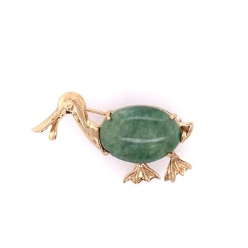 Vintage Nephrite Jade Duck Pin in Yellow Gold