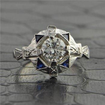 Art Deco Vintage Transitional Cut Diamond Engagement Ring