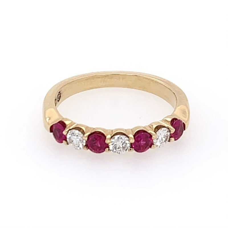 Perry's Estate Collection Ruby and Diamond Band in Yellow Gold