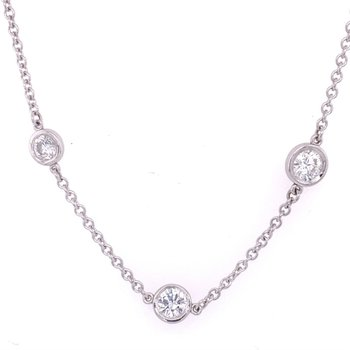 2.25 CTW Diamond Station Necklace in White Gold