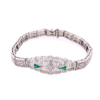 Art Deco Emerald Filigree Bracelet