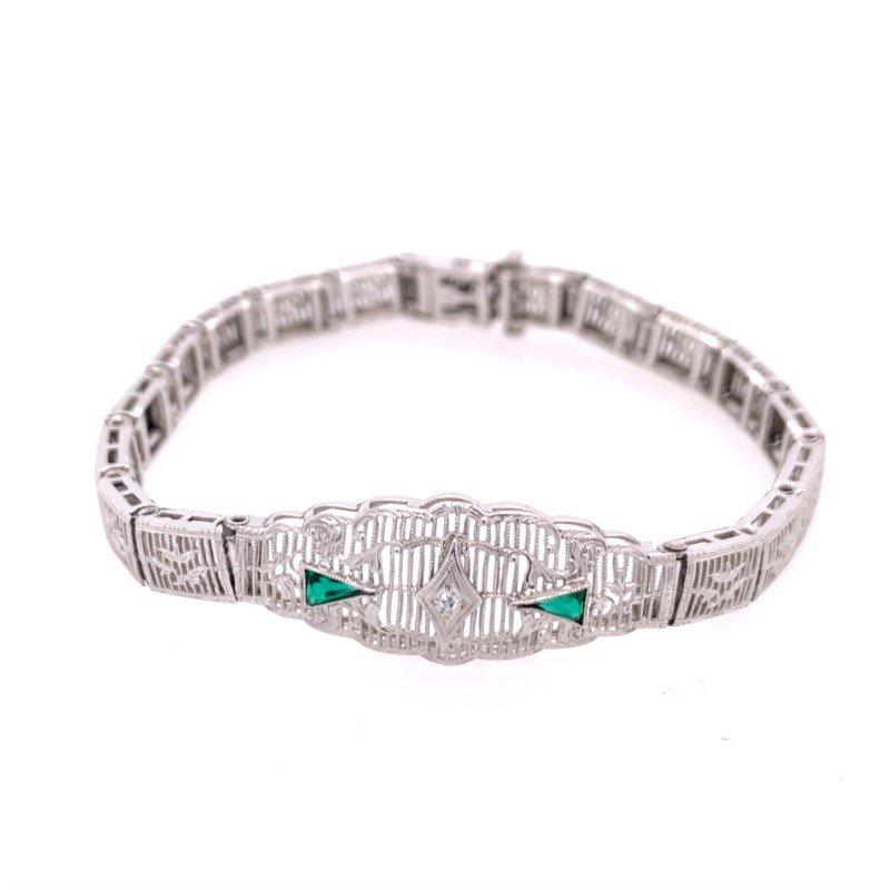Perry's Estate Collection Art Deco Emerald Filigree Bracelet