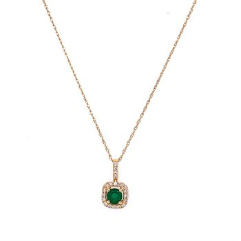 Emerald and Diamond Pendant in Yellow Gold