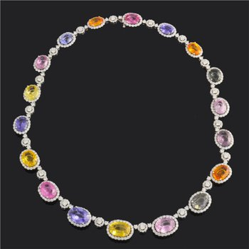 Stunning Multi Sapphire and Diamond Necklace in White Gold