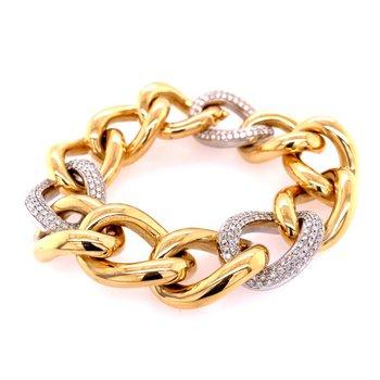 Wide Open Link Diamond Bracelet in 18k Gold