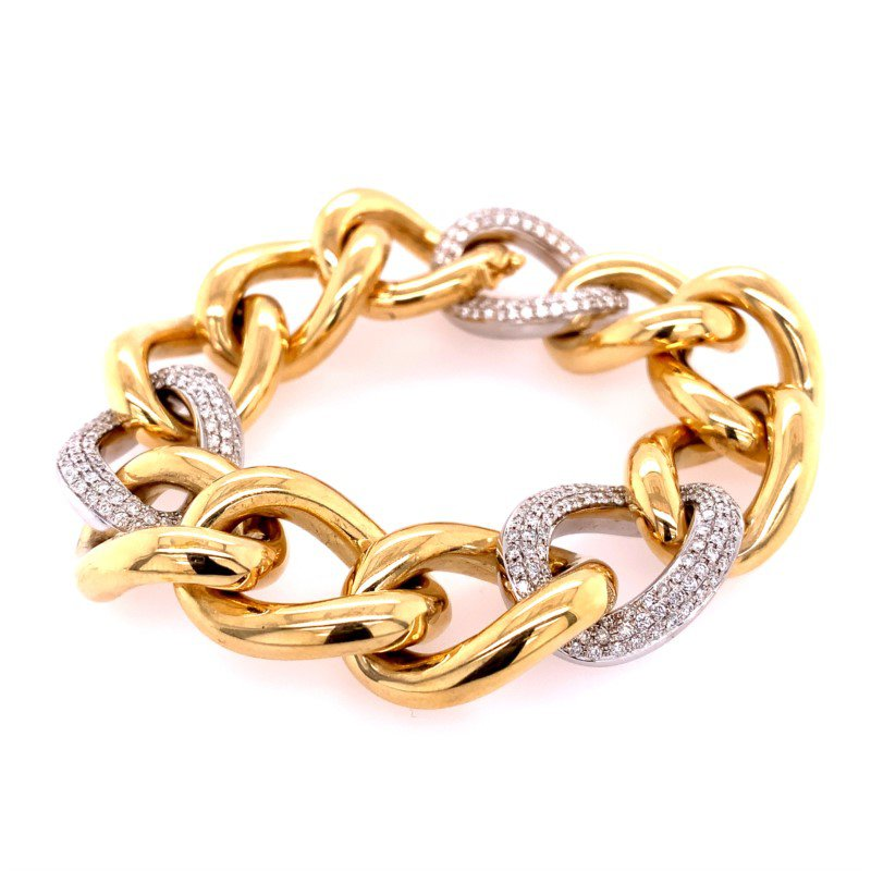 Pink Diamond Wide Open Link Diamond Bracelet in 18k Gold