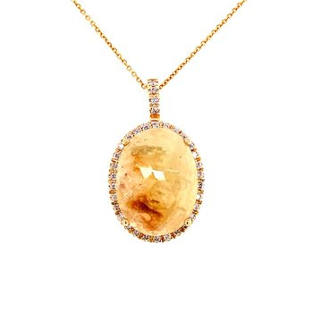 Yellow Sapphire Slice and Diamond Pendant in Yellow Gold