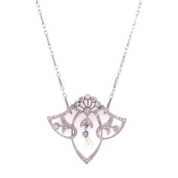 Antique Edwardian Pearl and Diamond Pendant in White Gold