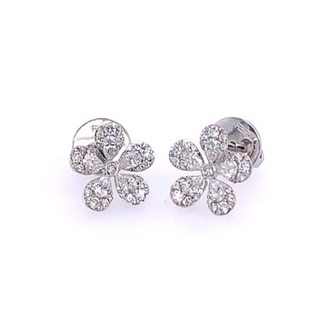 Diamond Flower Studs in White Gold