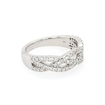 Openwork Criss Cross Diamond Band in White Gold
