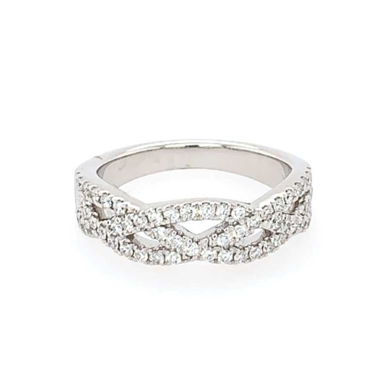 Diamonds Forever Openwork Criss Cross Diamond Band in White Gold