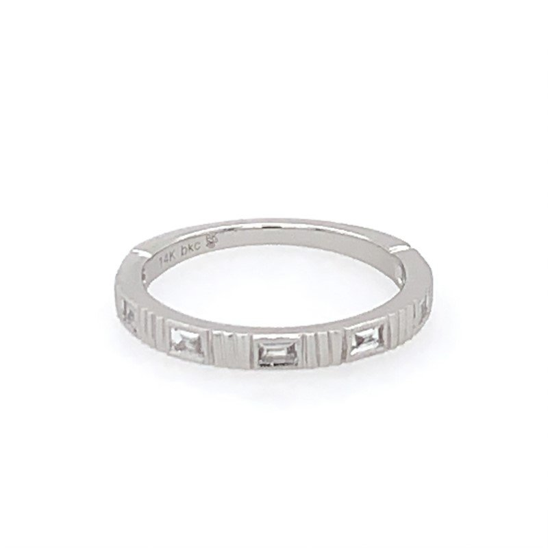 Beverley K Baguette Cut Diamond Wedding Band in White Gold