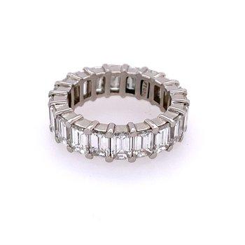 5.60 CTW Emerald Cut Diamond Eternity Band in Platinum Size 4.75