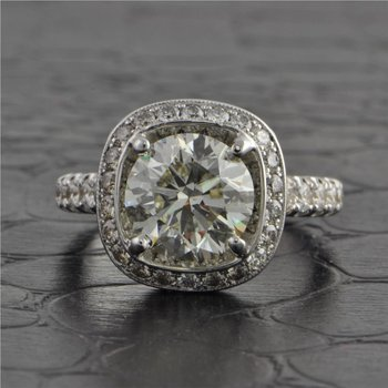 3.10 Carat Round Brilliant Cut Diamond Engagement Ring by Jack Kelege