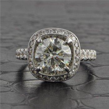 3.10 Carat Round Brilliant Cut Diamond Engagement Ring by Jack Kelege
