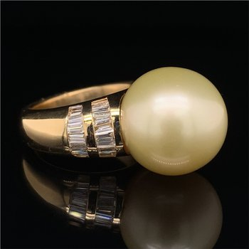 15.1 MM Golden South Sea Pearl and Diamond Ring