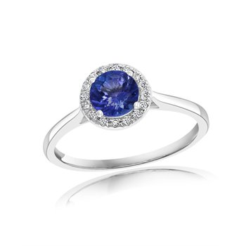 Sapphire and Diamond Ring in White Gold