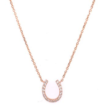 Diamond Horseshoe Pendant in Rose Gold