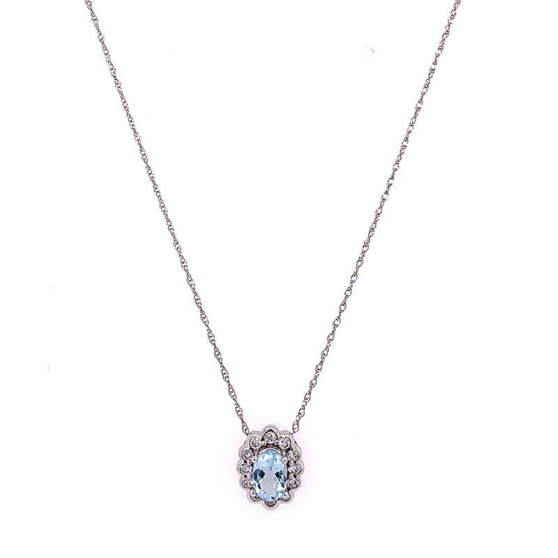 Royal Jewelry Aquamarine and Diamond Pendant in White Gold