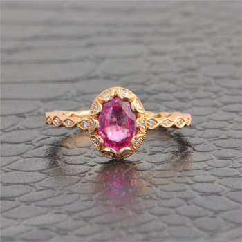 Pink Sapphire and Diamond Ring in Rose Gold