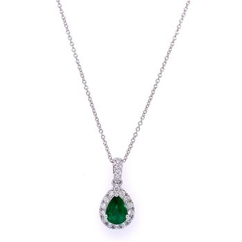 Teardrop Emerald and Diamond Pendant in White Gold