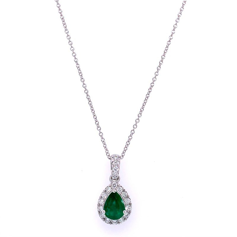 Effy Teardrop Emerald and Diamond Pendant in White Gold