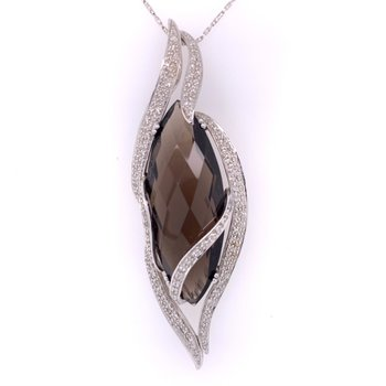 Smoky Quartz and Diamond Pendant in White Gold