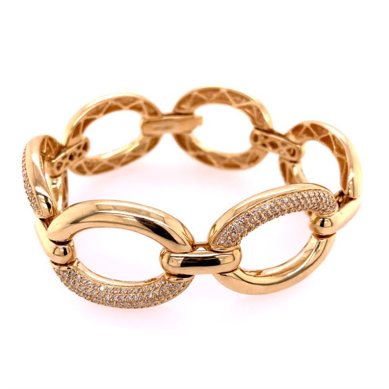 Effy Wide Oval Link Bracelet in Yellow Gold