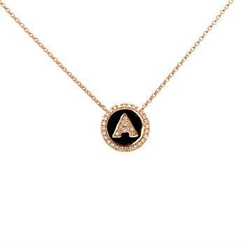 Diamond Initial Necklace in 14k Rose Gold