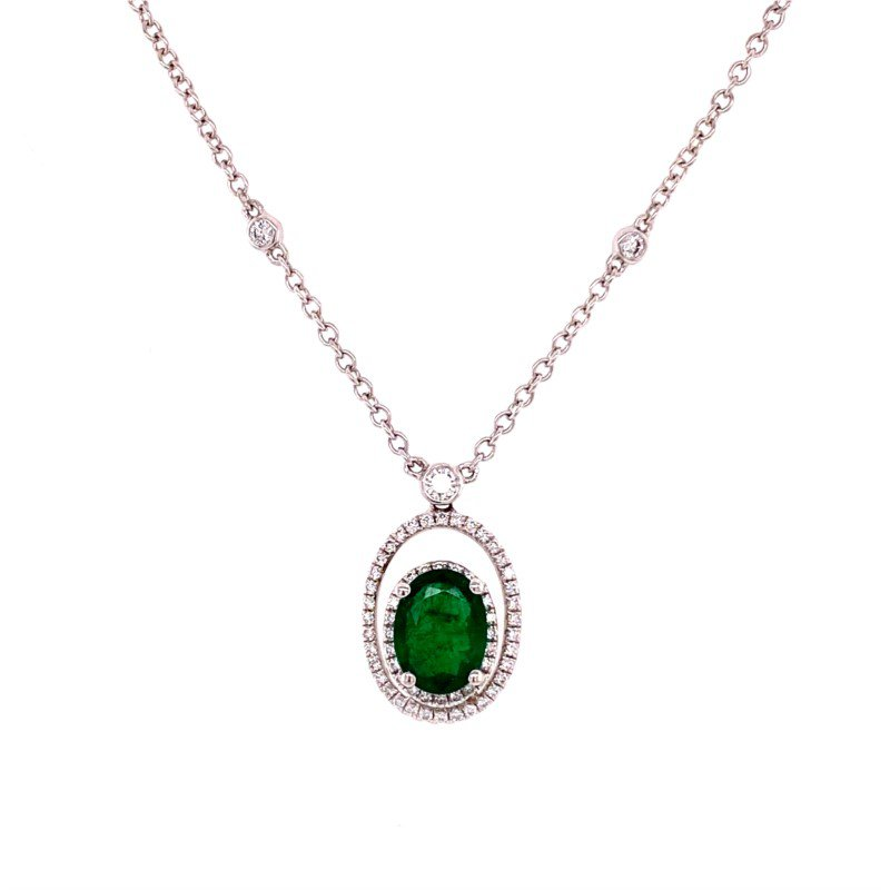 Jewels By Jacob Openwork Emerald and Diamond Pendant in 18k White Gold