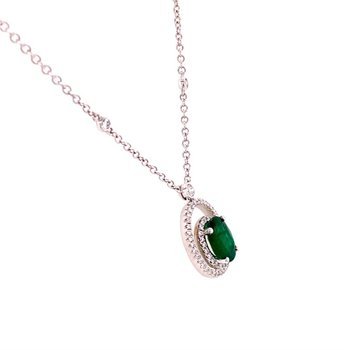 Openwork Emerald and Diamond Pendant in 18k White Gold