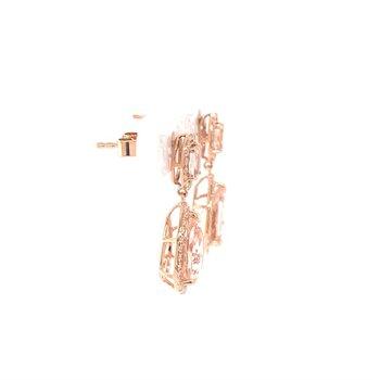 Morganite and Diamond Drop Earrings in Rose Gold