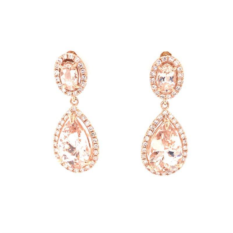 Effy Morganite and Diamond Drop Earrings in Rose Gold