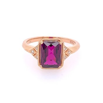 Garnet and Diamond Ring in Rose Gold