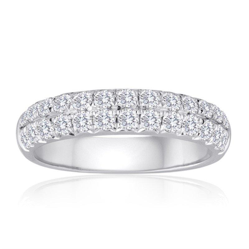 Imagine Bridal Double Row Diamond Band in White Gold