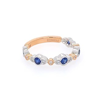 White and Rose Gold Band with Sapphires and Diamonds