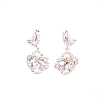Diamond Drop Earrings in Shape of Roses  in White Gold