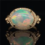 Royal Jewelry Opal and Diamond Ring in Yellow Gold