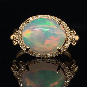 Opal and Diamond Ring in Yellow Gold