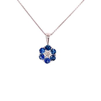 Sapphire and Diamond Floral Pendant