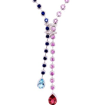 Beautiful Multi Colored Sapphire, Blue Topaz, and Pink Tourmaline Bolo Style Necklace