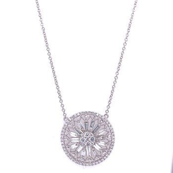 Circular Diamond Necklace in White Gold