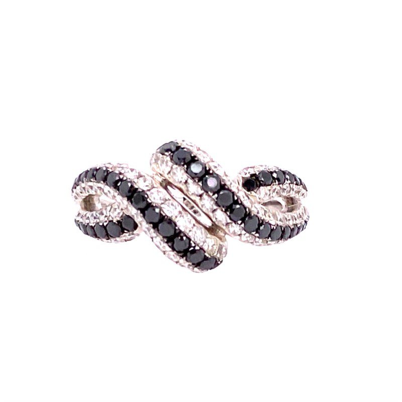Jewels By Jacob White and Black Diamond Ring in White Gold