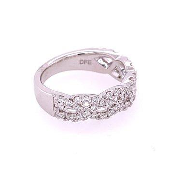 Crisscross Diamond Wedding Band in White Gold